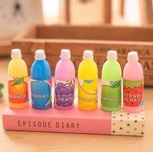 6 unids/lote Creativos de Corea Lindo Caramelo Botella de Jugo de Fruta Bebida Limpie Borrador de Lápiz Papelería Estudiante Borrador de Lápiz(China)