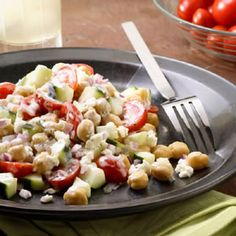Feta cheese and chickpeas lend a Mediterranean flair to this satisfying side salad. The Creamy Dill Ranch is great with it, but would also be good with a tangy vinaigrette.