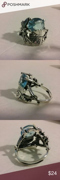 .925 stamped silver topaz ring dragonfly 7, 8 Beautifully handmade ring with a dragonfly and leaf, solid sterling silver. Clear blue topaz is the icing on the cake. Poshionistas  Jewelry Rings