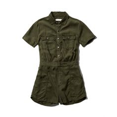 Abercrombie & Fitch Cargo Jumpsuit ($34) ❤ liked on Polyvore featuring jumpsuits, dresses, rompers, abercrombie, green, cargo jumpsuit, jumpsuits & rompers, military jumpsuit, jump suit and military fashion