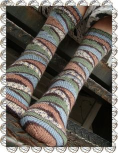 "it's called ""rainbow socks"". and it's knitted with short rows. simple self striping yarn... the short row method i used was a yarn over. no wrap & turn. also, i slipped the first stitch after the yarn over. [look on ravelry for more about the pattern?]"