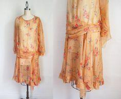1920s Sheer Chiffon Dress