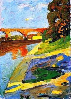 Vasilij Kandinskij - Munich - The Isar, 1901. Staedtische Galerie im Lenbachhaus, München, Germany