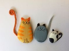 Happy, grumpy and silly Cats Pebble Art. More