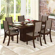 Conjunto de Mesa Dani com 6 Cadeiras Kiara Choco e Canela