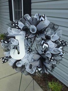 Curly Cue Personalized Initial Wreath by EastCarolinaGirl on Etsy, $59.00