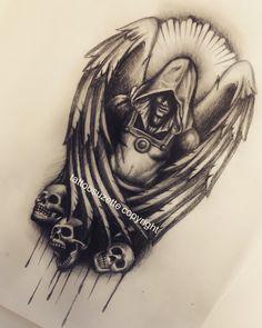 Evil Skull Tattoo, Devil Tattoo, Skull Tattoos, Black Tattoos, Star Sleeve Tattoo, Tattoo Sleeve Designs, Tattoo Designs Men, Sleeve Tattoos, Angel Warrior Tattoo