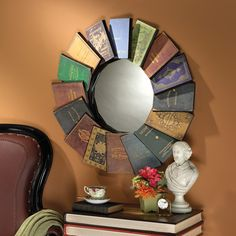 Lord Byrons Compendium of Books Metal Wall Mirror