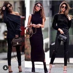 All black fashionista! Fashion Moda, Vogue Fashion, Look Fashion, Girl Fashion, Womens Fashion, Fashion 2018, Luxury Fashion, Chic Winter Outfits, Classy Outfits