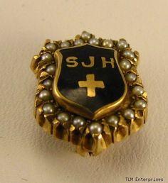 ST. JOHNS HOSPITAL - Vintage 10k Gold Pearl Medical PIN Nursing Pins, Vintage Nurse, Gold Pearl, Nurses, Badges, Monogram, Medical, Brooch, Pearls