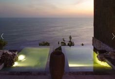 Twin spas in Bali. There's nothing like a relaxing bath at sunset!