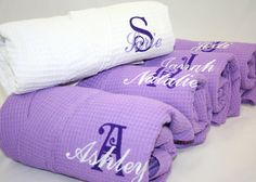 Bridesmaid Purple Robe Personalized Gift waffle weave robes. $39.00, via Etsy.