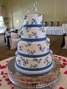 cake with blue swirls