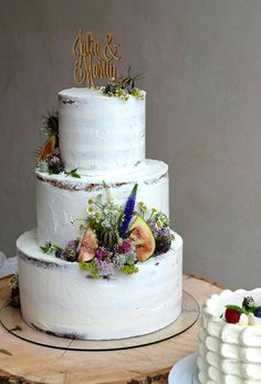 Gorgeous Half Naked Cake with wild flowers, figs, berries and caketopper. Colors: white, purple, green. Design by Suesse Boutique Austria