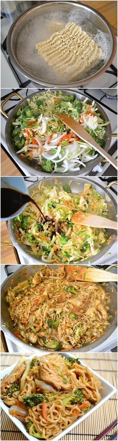 How To Make Chicken Yakisoba Ingredients ½ head green cabbage 1 medium yellow onion 2 medium carrots 1 small crown broccoli 2 inches. I Love Food, Good Food, Yummy Food, Tasty, Chicken Yakisoba, Chicken Stirfry Recipes, Recipe Chicken, Ramen Noodle Recipes Chicken, Chicken Noodle Stir Fry