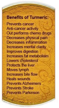 Health Benefits Of Turmeric! Remember to add some pepper to increase the absorbtion of curcumin from turmeric!