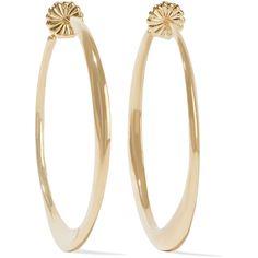 Ippolita Glamazon 18-karat gold hoop earrings ($1,955) ❤ liked on Polyvore featuring jewelry, earrings, gold, 18 karat gold jewelry, polish jewelry, ippolita, 18 karat gold earrings and post earrings
