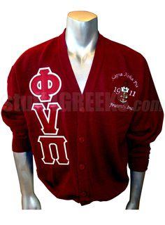 Phi Nu Pi Greek Letter Cardigan with Embellished Crest, Crimson