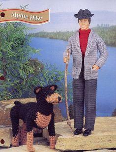 Alpine Hike Barbie's Ken Doll & Dog Crochet Pattern - 30 Days To Shop & Pay!