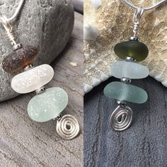 New Sea Glass Stack Necklaces available. Perfect gift 🎁