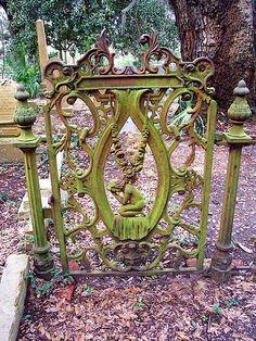 An ornate gate at the Bosque Bello Cemetery in Ferdinanda Beach on Amelia Island, Florida. Door Gate, Fence Gate, Old Gates, Garden Gates And Fencing, Wrought Iron Gates, Metal Gates, Porches, Fernandina Beach, Iron Work