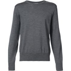 Thom Browne Relaxed Crewneck Pullover In Medium Grey Mercerized Merino (2.830 BRL) ❤ liked on Polyvore featuring men's fashion, men's clothing, men's sweaters, grey, mens crew neck sweaters, mens crewneck sweaters, men's grey crew neck sweater, mens merino wool sweater and mens grey sweater