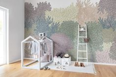 Cool down in this hand-drawn glade in soft colors. Hang this wall mural on two walls to create a cozy corner – or cover all four walls and let the gre Fourth Wall, Cozy Corner, Baby Bedroom, Designer Wallpaper, Soft Colors, Wall Murals, Kids Room, How To Draw Hands, Rum