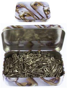 Boite métal 200 épingles à nourrice
