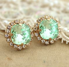 Clear Mint green seafoam Crystal stud Petite vintage by iloniti