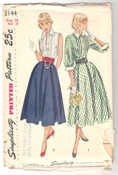 Vintage Sewing Pattern 1950's Misses Skrit and Blouse by Mrsdepew