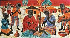 A nativity wall hanging made of cloth by an unknown artist from the African Catholic Missions.