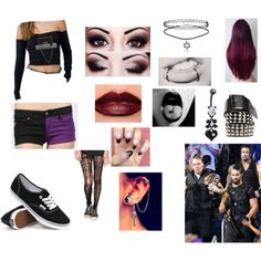 Accompanying the Shield to their Wrestlemania match by sleepingxwithxrebels on Polyvore featuring Tripp, Pretty Polly, Vans and Mary Kay
