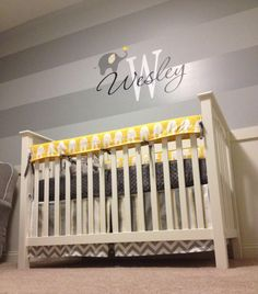 Wesley S Yellow And Gray Elephant Nursery