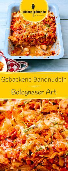 Lasagne war gestern, heute gibt es leckere überbackene Bandnudeln Bologneser Art. Das schmeckt jedem Kind!