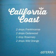 California Coast Diffuser blend. Essential Oils blend for your diffuser, try Frankincense, Cedarwood, Rosemary & Wild Orange www.hayleyhobson.com