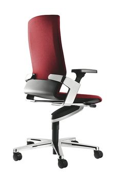On Red Office Chair With Trimension Three Dimensional Synchro Adjusted Dynamic Seating