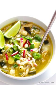 This Easy Chicken Posole Verde recipe is ready to go in just 20 minutes on the stove, or you can let it simmer in the slow cooker all day. It's flavorful, naturally gluten-free, and SO comforting and delish! Crock Pot Recipes, Slow Cooker Recipes, Soup Recipes, Chicken Recipes, Cooking Recipes, Healthy Recipes, Cooking Tips, Dinner Recipes, Hominy Recipes
