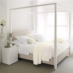 4 Poster Bed Dream Bedroom All White Bedding Master Home