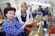Roisin McDonough, Chief Executive of the Arts Council for Northern Ireland is pictured with silversmith Diane Lyness at the official opening of the Down Arts Centre in Downpatrick following a £1.4m refurbishment and extension