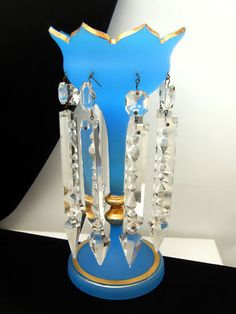 Bohemian Glass Mantle Luster Crystals Blue Satin Gilt