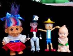 Russ Troll McDonalds Madame Alexander Mad Hatter and Pinnochio Kewpie 4 Doll LOT #RussMadameAlexanderMcDonalds #MiniatureDolls