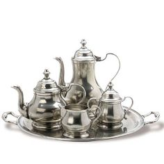 Match Pewter- Round Tray with Handles, Coffee Pot, Creamer, Sugar Bowl.