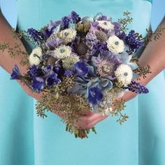 Blue Bridal Bouquet Ideas - Blue Hydrangea Wedding Bouquet