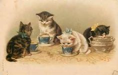 Kitty Cats Drink from Blue China Tea Cups & Creamer Bowl