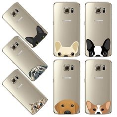 Silicon TPU Cute Happy Pug  Mobile  Phone Case For Samsung Galaxy S5 S6 S6Edge  Plus S7 S7Edge Cat Design Clear Capa Cover Case