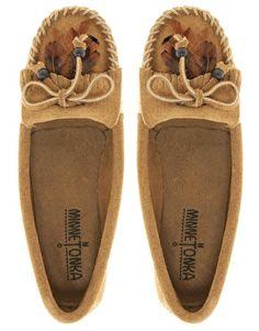Minnetonka   Minnetonka Feather Moc Taupe Shoes at ASOS