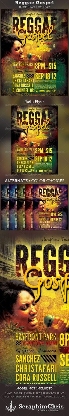 This Flyer is customized for Reggae Gospel Concerts, Sermons, Revivals, Conferences or Church Events, Books or Magazine Covers that needs a modern, unique look. Add this to your promotional arsenal for a maximum effect. - $6.00