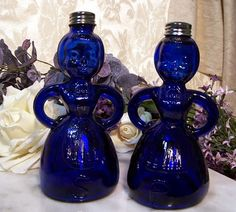 Cobalt Glass Salt & Pepper Shakers...I absolutely love these...love blue glass stuff :)