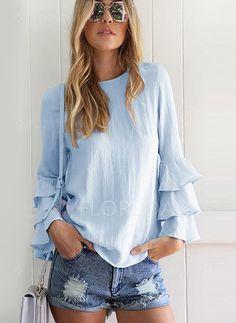 Camisas - $29.99 - Llanura Casuales Algodón Cuello redondo Manga larga Camisas (1645137745)