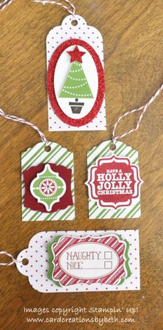 "Christmas Tags--Stamps: Very Merry Tags, Tags 4 You, Pennant Parade Paper: Pretty Presents Tags (Holiday), Whisper White CS, Cherry Cobbler CS, Gumball Green CS, Red Glimmer Paper Ink: Gumball Green Stamp Pad, Cherry Cobbler Stamp Pad, Early Espresso Stamp Pad Accessories: Oval Collection Framelits, Artisan Label Punch, Mosaic Punch, Bracket Label Punch, Decorative Window Punch, 1/2"" Circle Punch, Merry Minis Punch Pack, Dimensionals, Glue Dots, Cherry Cobbler Baker's Twine"